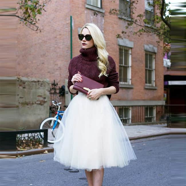 White Knee Length Tulle Skirts for Summer 2016