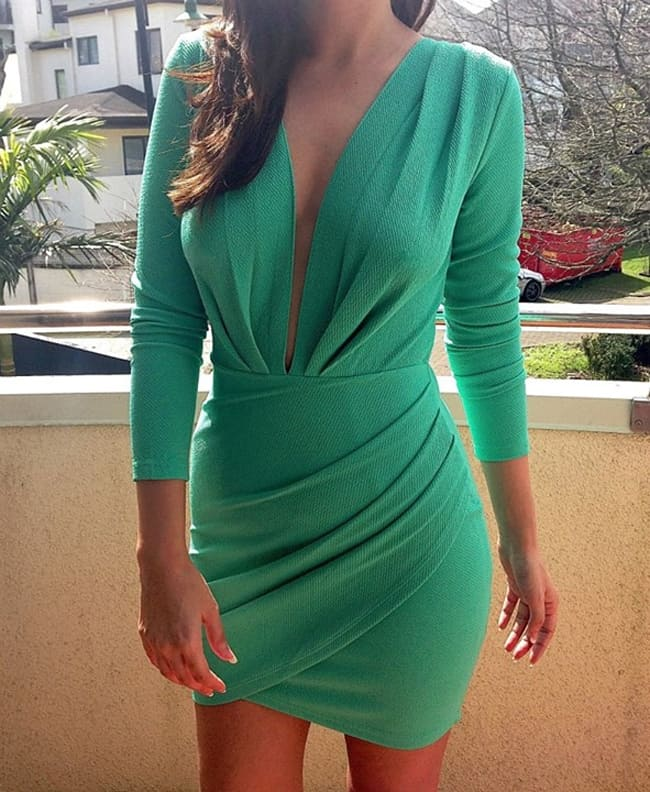 Women Long Sleeve Dress With Plunging Neckline