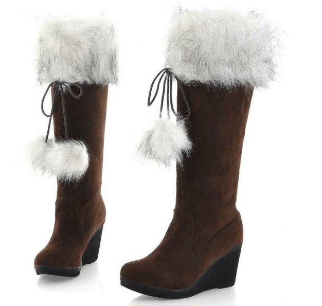 Womens Long Leather Boots for Winter