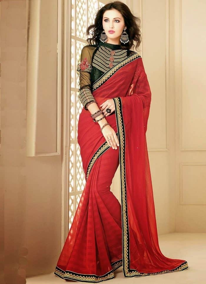 evening design of red saree