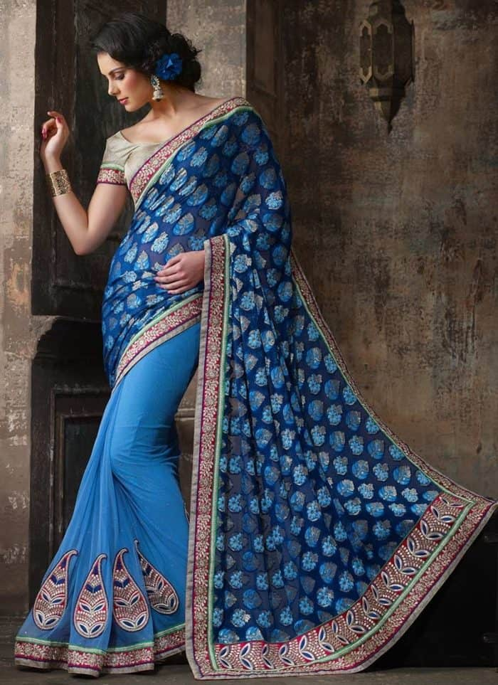 evening sarees of royal design