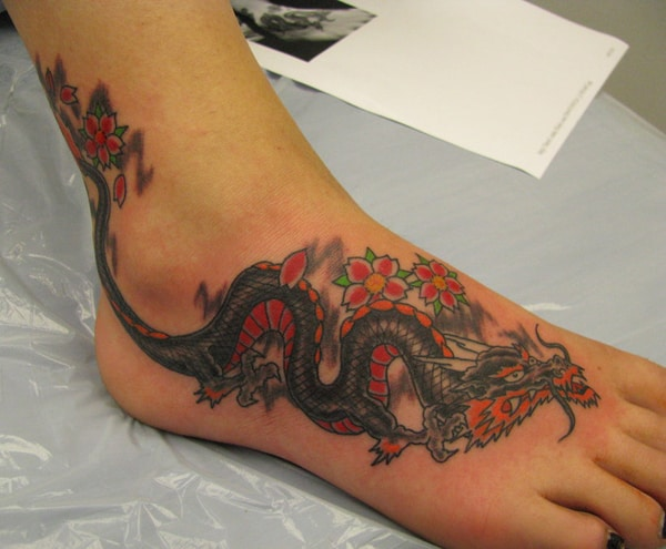 2016 Japanese Dragon Tattoo Design for Foot