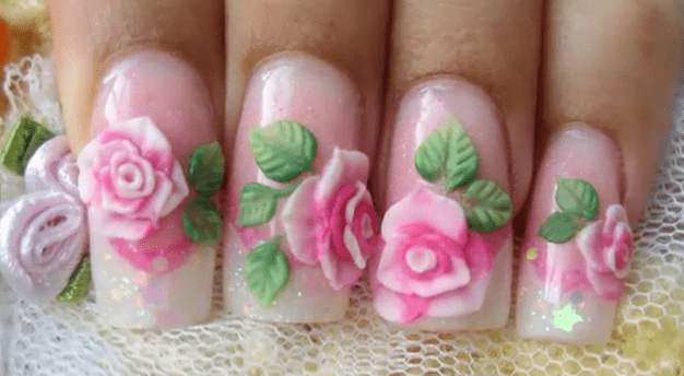 3D Rose Acrylic Nail Art Designs