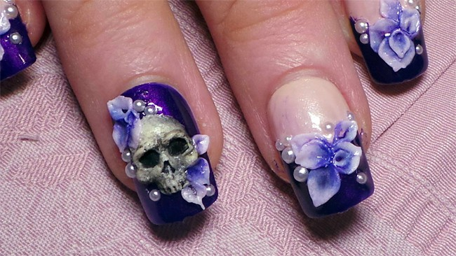 3D Skull and Flowers Nail Art Designs