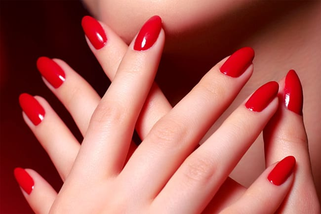 Attractive Red Color Nail Paint Art Designs