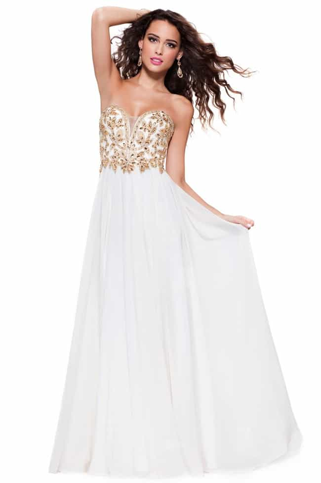 Attractive White and Gold Formal Gown for Brides