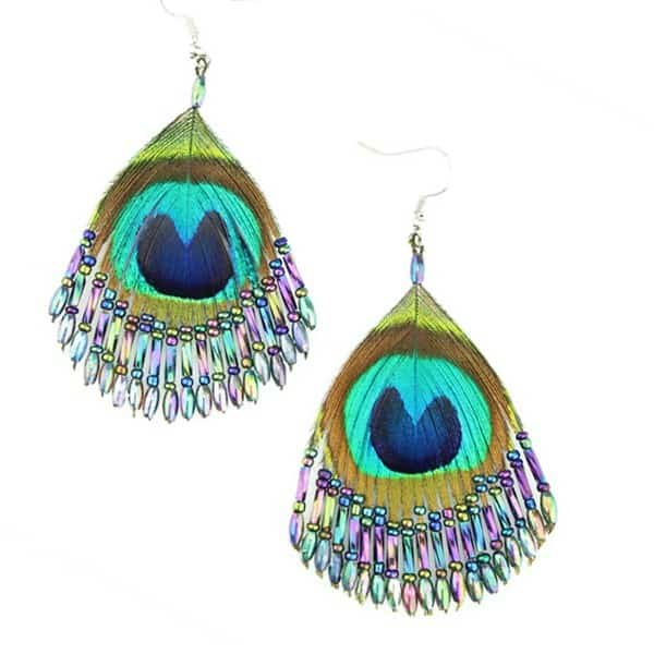 Awesome Beaded Peacock Feather Earrings