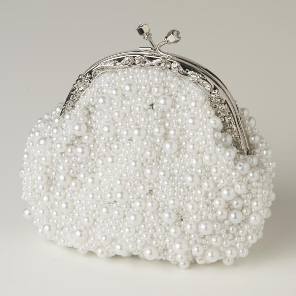 Awesome White Pearl Encrusted Handbags