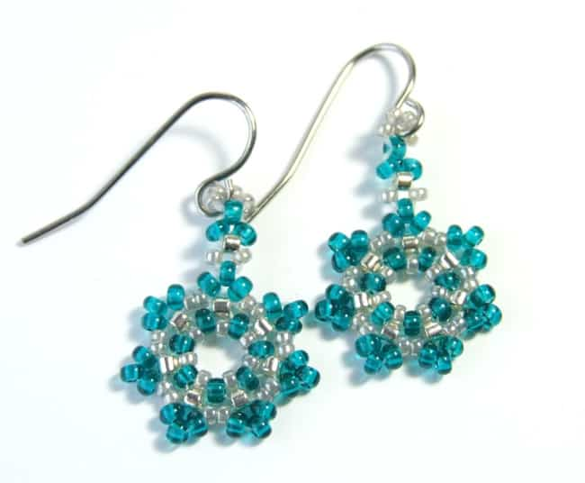 Beaded Snowflake Earrings Pattern Pictures