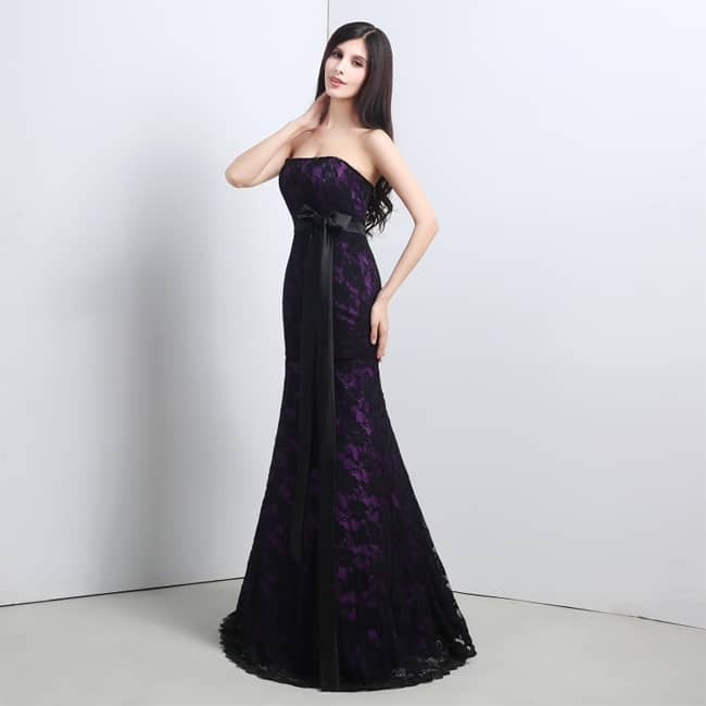 Black Mermaid Lace Prom Dresses for Wedding