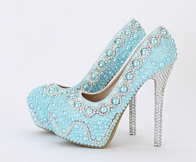 Bridal Blue Pearl Shoes for Wedding 2016-17
