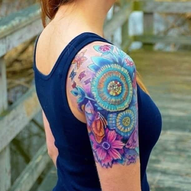 Colorful Tattoo Sleeve Ideas for Women 2016