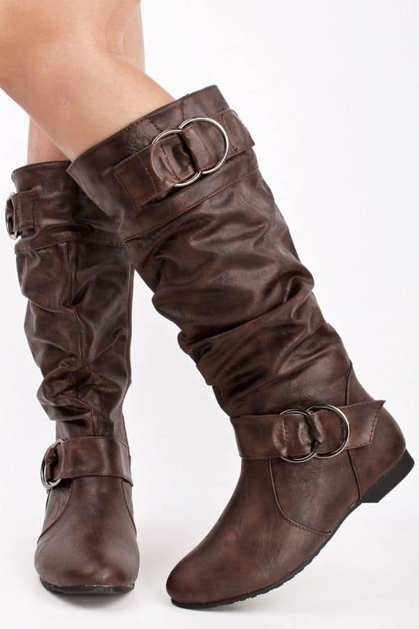 Cool Flat Brown Leather Boots for Women