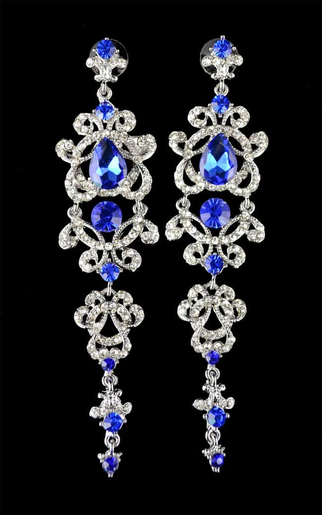 Crystal Platinum Plated Chandelier Blue Earrings