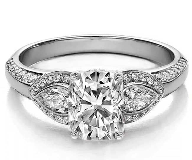 Cushion Cut Engagement Ring With Side Stones