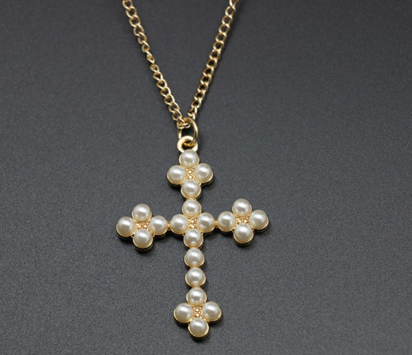 Cute Cross Necklace With Pearls for Girls