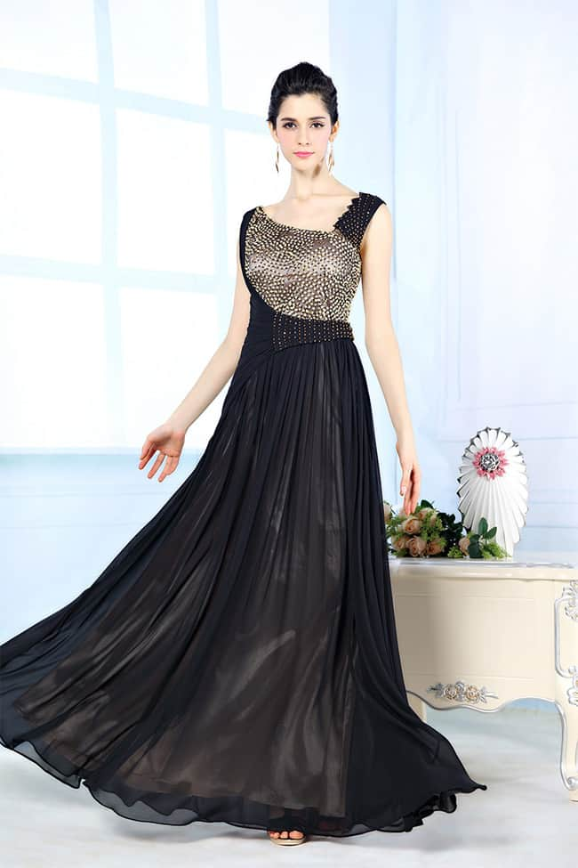 Designer Black Evening Crystal Beaded Dresses