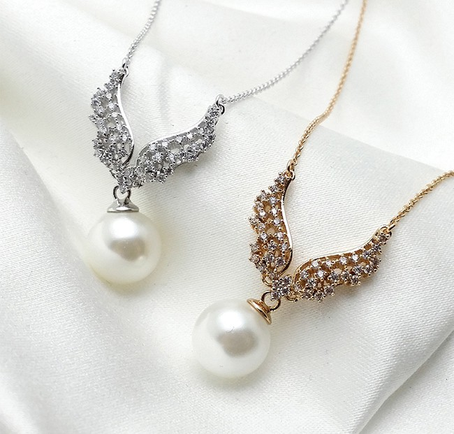 Diamond Pearl Pendant Necklace for Party
