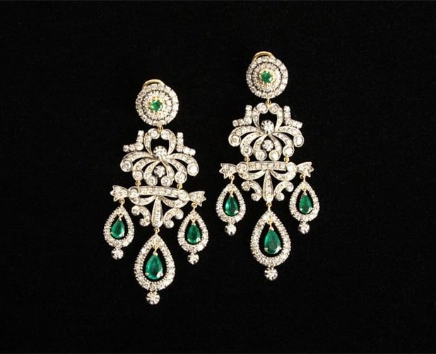 Emerald and Diamond Chandelier Green Earrings