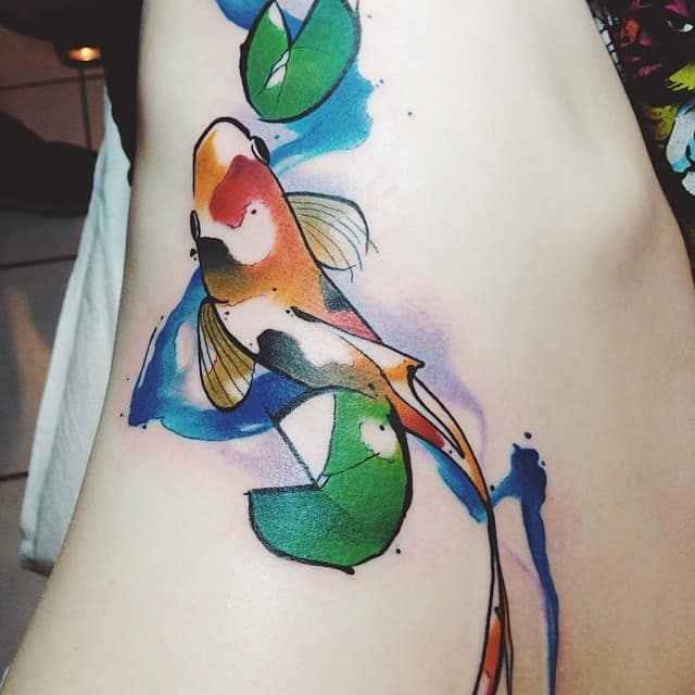 Fantastic Watercolor Koi Tattoos Ideas