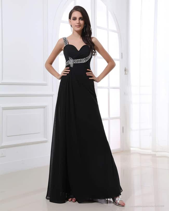 Floor Length Black Evening Dresses for Party