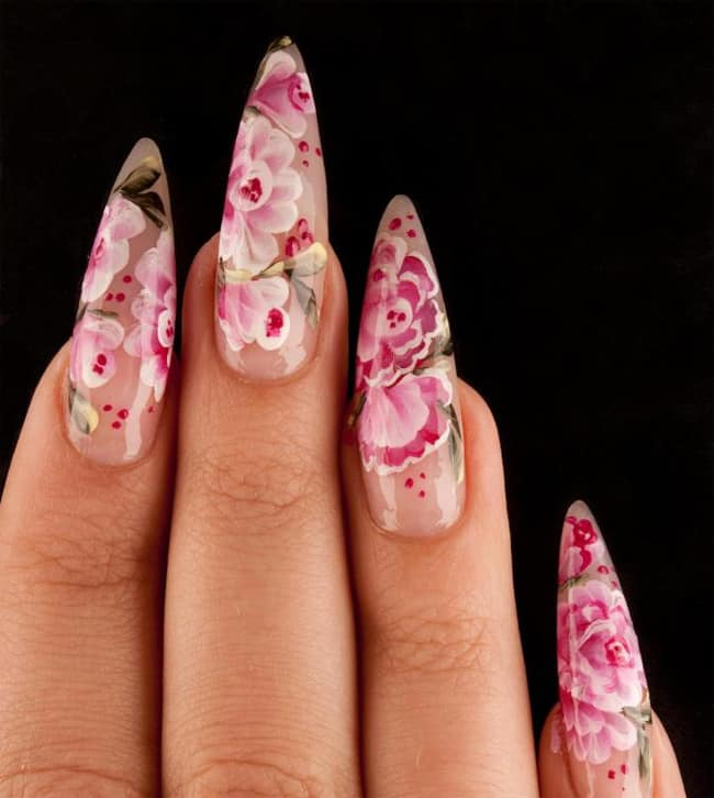 Flower Fingernail Manicure Ideas 2016