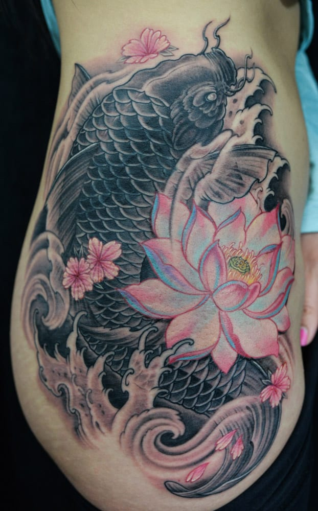 Girls Koi Fish Flower Tattoos on Side Rib 2016