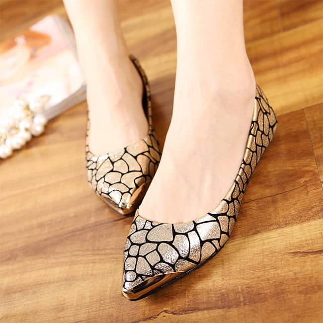 Golden Formal Flat Shoes for Women