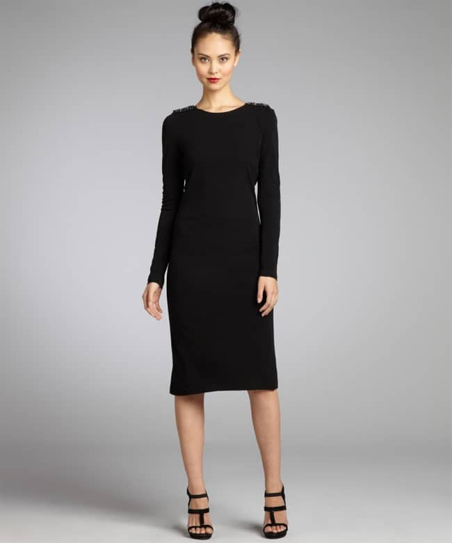 Great Black Long Sleeve Knit Dress 2016