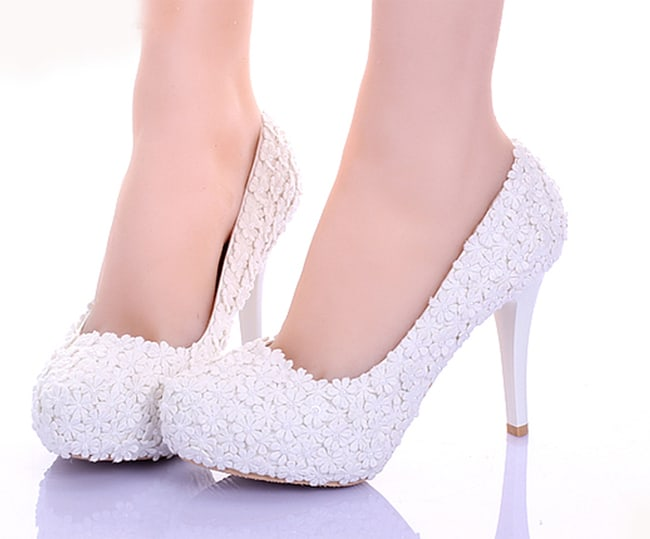 Great White Lace Flower Formal Shoes Fashion