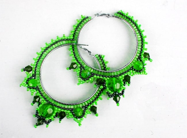 Green Round Beaded Earrings Pictures