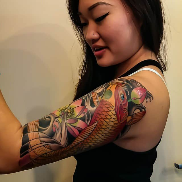Koi Fish Half Sleeve Tattoo Designs for Women
