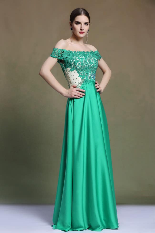 Lace Formal Evening Gown in Green Color