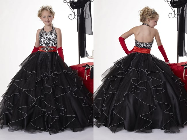 Little Girls Black Evening Ball Gowns 2016