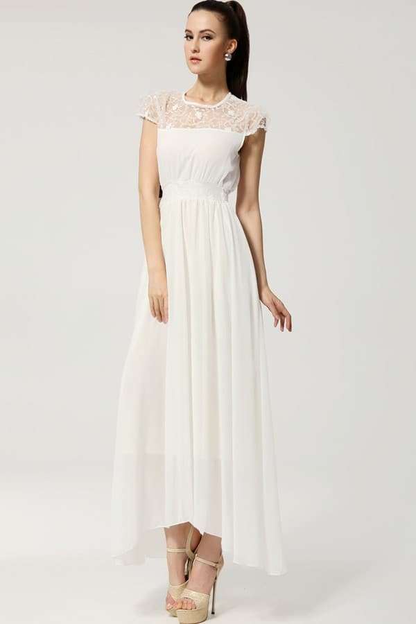 Long White Maxi Gown Dress Pictures