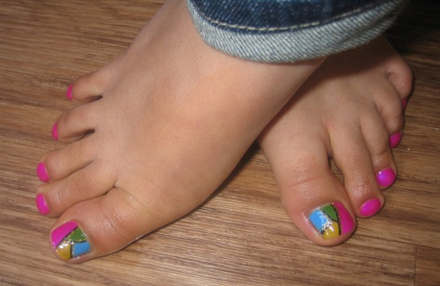 Multi Colored Painted Toenails Designs for Feet
