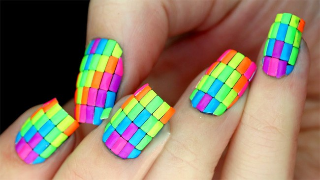 Neon Glitter Acrylic Nails Art for Women
