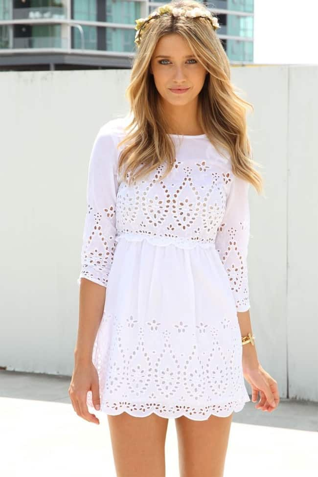New White Eyelet Summer Dress for Party
