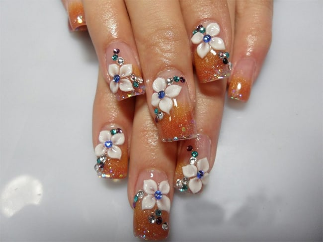 Ombre Gold Glitter 3D Flowers Nails Ideas