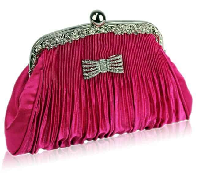 Pink Crystal Bow Satin Ruched Designer Womens Purses