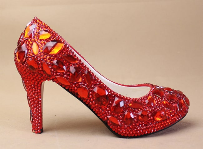 Red Sparky Prom Shoes for Brides 2016