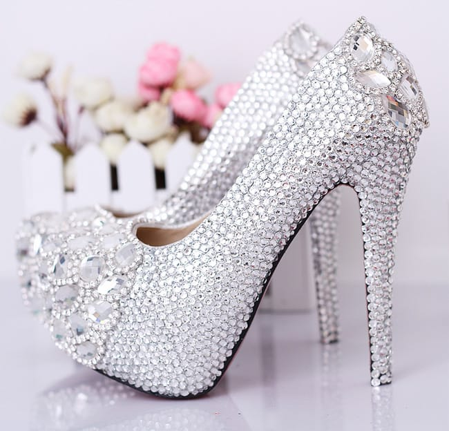 Rhinestone Prom Heels Footwear for Brides