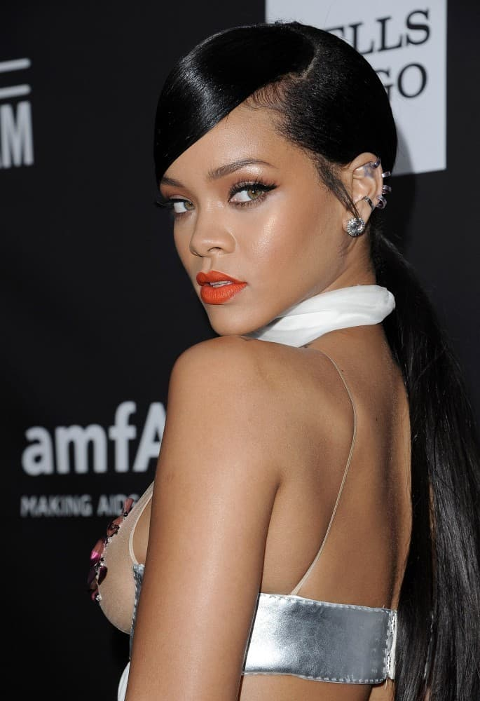 Rihanna Long Ponytail Weave Hairstyles