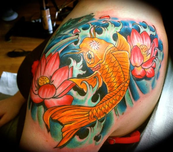 Shoulder Koi Fish Tattoo Designs for Women
