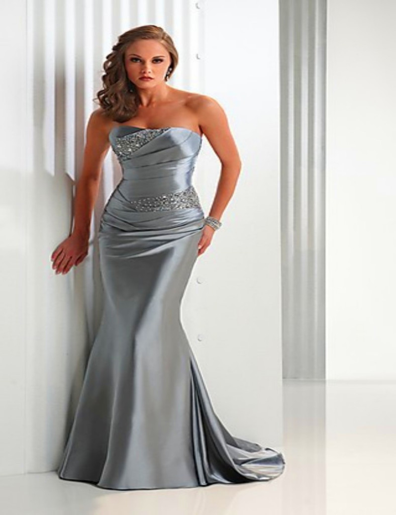 Silver Bridesmaid Plus Size Dresses for Wedding
