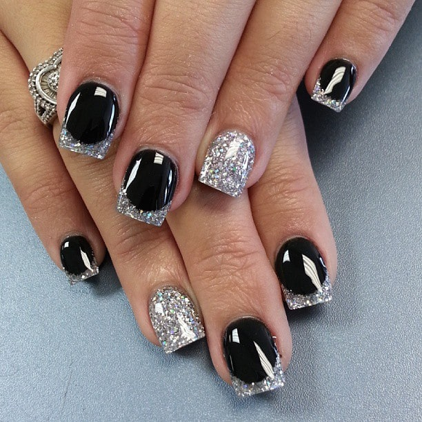 Silver and Black Simple Nail Glitter Designs