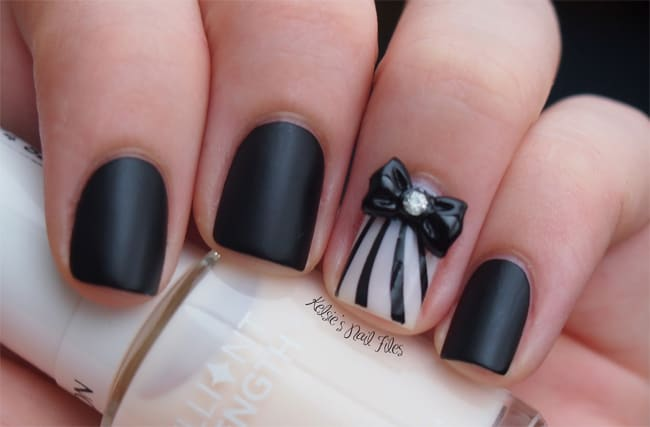 Simple 3D Nail Designs With Bow Style