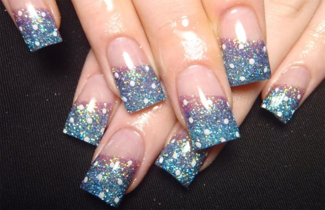 Simple Gel Nail Designs With Glitter for Women