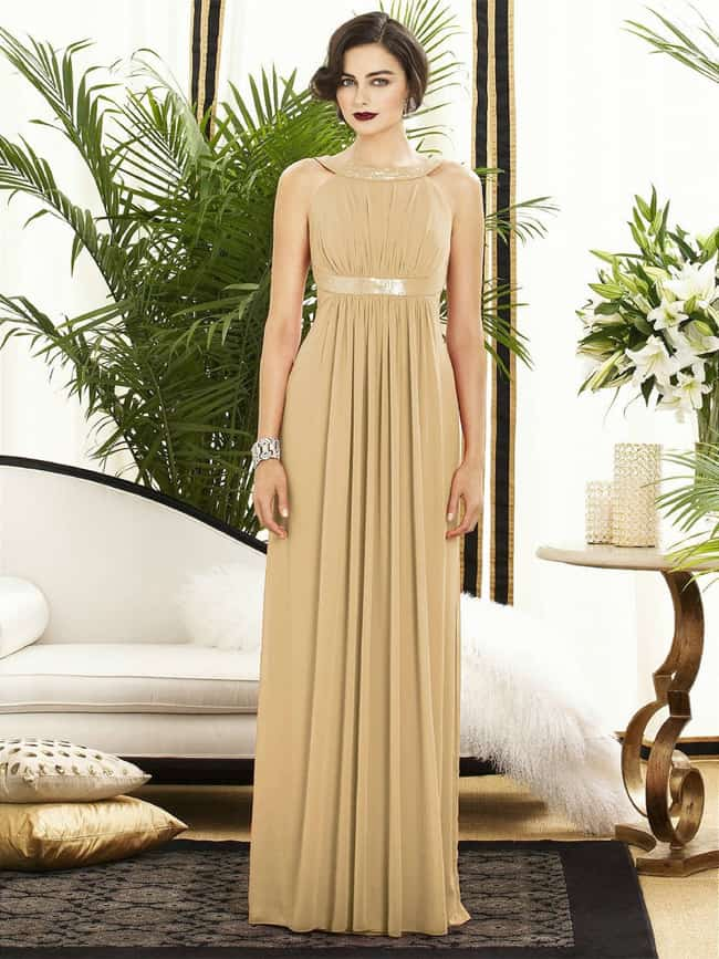 Stylish Gold Bridesmaid Dress Without Sleeves
