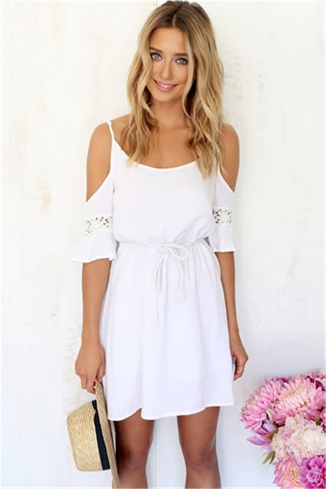 Summer Style White Off Shoulder Dress for Girls